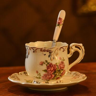 欧式咖啡杯套装家用陶瓷杯子英式茶具咖啡杯碟下午茶杯子带勺碟