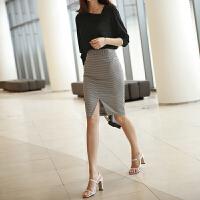 格子半身裙高腰一步裙夏季新款OL裙子千鸟格包裙短裙女开叉包臀裙 黑白格子 X