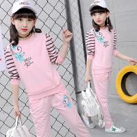 女童春装2019新款韩版卫衣儿童长袖套装中大童洋气时尚两件套潮衣 110码 建议身高105CM