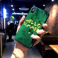 祖母绿网红女款夏天苹果X手机壳8puls潮牌明星同款iPhone7支架6sp