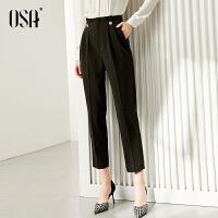 OSA黑色西装裤女直筒宽松2021年显瘦百搭高腰休闲长裤子薄款