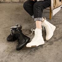 ��菲���D2020秋冬新款女靴皮毛一�w真皮雪地鞋�羊毛雪地靴加�q加厚�R丁短靴1816-25YML