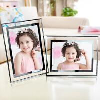水晶相框A4水晶玻璃简洁创意摆台相框6 7 8 10寸 A4画框儿童组合照片框 双镜边透明色