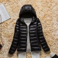 加大码中老年轻薄羽绒服女短款连帽立领保暖羽绒衣女装外套 S 建议80-90斤左右