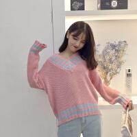 韩国韩版学院风V领毛衣女宽松套头学生长袖秋冬针织衫女单件/套装