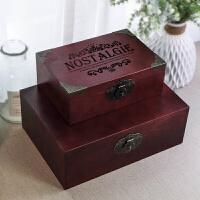 小木箱带锁 复古木盒子木箱匣子桌面收纳整理盒松木长方形木盒