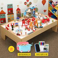 儿童兼容托马斯木质小火车套装轨道大型游戏桌电梯停车场拼装玩具定制 官方标配