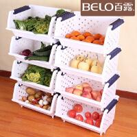 百露加厚塑料厨房置物架层架水果蔬菜收纳架厨房储物架可叠加整理架厨房用品用具蔬菜架多功能架多层落地架子3层4层5层