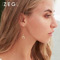 女士气质耳饰适合圆脸的耳坠显瘦星月耳环流苏耳线