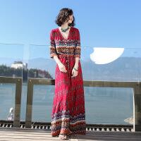 【好货推荐】 2019夏季新款女装复古裙子超仙连衣裙长裙波西米亚沙滩裙海边度假 图片色XZ16C503
