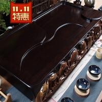 黑檀木茶盘 整块实木 原木 红鸡翅花梨海茶托茶茶具 特价 70x38x6双边雕鱼