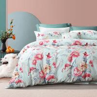 富安娜家�四件套全棉�棉被套床����L冬季三件套床笠床上用品4