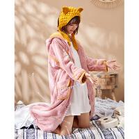 黛梦思秋冬珊瑚绒睡衣女冬法兰绒长款可外穿睡袍女粉色睡裙家居服