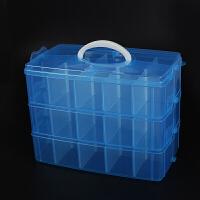 大号多层可拆透明收纳盒乐高积木储物箱塑料玩具小汽车模型收纳箱 蓝色 天空蓝 特大号三层【小颗粒约1500】