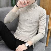 秋冬季男士高领毛衣青少年韩版修身上衣潮男休闲纯色打底针织衫男
