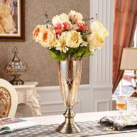 美式水晶玻璃果盘欧式样板房现代家用客厅创意茶几摆件双层水果盘