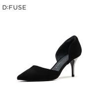 【领券减100】DFUSE/迪芙斯2019秋季新款中空细高跟浅口尖头单鞋女DF93114043