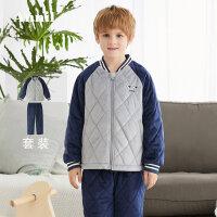 【3件3折:179.7】安奈儿童装男童2019冬季新款水晶绒家居服套装