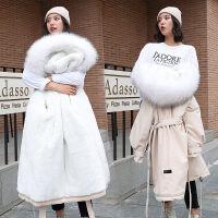 棉衣女中长款大毛领韩版冬季大码修身加绒加厚保暖服 M 大概80-110斤