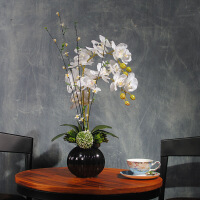 水清新中式蝴蝶兰花艺仿真花套装 客厅假花设计绢花玄关装饰摆设