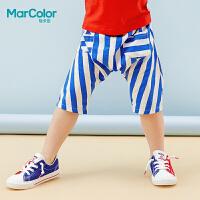 巴拉巴拉旗下MarColor马卡乐2019夏新品男童时尚宽条纹跨腿中裤