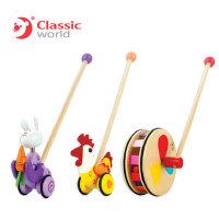 可来赛 木制质卡通动物小推车儿童宝宝单杆学步车手推车学步玩具