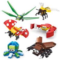 积木儿童拼装昆虫动物玩具女男孩子小颗粒4-5-6岁8幼儿园 昆虫总动员全套6盒送拆件器