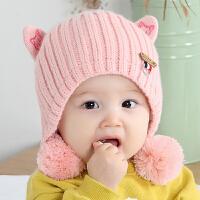 秋冬婴儿帽子6-12个月厚款保暖韩版护耳宝宝毛线帽