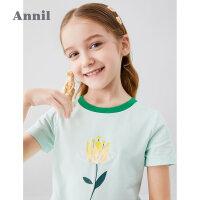 【159元3件】安奈儿童装女童短袖T恤圆领2020夏季新款甜美立体花朵上衣