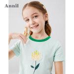 【秒杀价:49】安奈儿童装女童短袖T恤圆领2020夏季新款甜美立体花朵上衣
