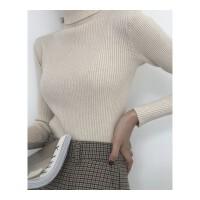 秋冬女装韩版纯色高领修身显瘦加厚打底衫针织衫外穿毛衣上衣 均码
