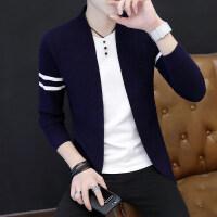 春秋季韩版男士开衫假两件T恤针织衫青年学生毛衣修身线衣外套潮