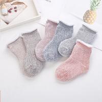 儿童袜子3秋冬5毛圈袜0-1岁婴儿地板袜7男童女童宝中筒袜
