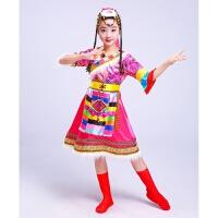六一儿童节少数民族演出服 女童藏族幼儿园舞蹈服装 男童水袖蒙古 1号枚红色七分袖 140cm(140cm)