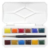 全店满99包邮! DANDELION山禾 12色固体水彩 便携式水彩颜料 写生水彩颜料