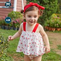 【618年中庆 119元任选2件】迷你巴拉巴拉婴儿外出三角哈衣2020夏季女宝宝可爱裙摆式连体衣