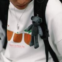 黑蓝灰格子毛绒小熊玩偶挂饰钥匙扣书包挂件配饰