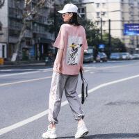 【新品特惠】 运动风套装女ins夏学生休闲韩版潮牌嘻哈两件套酷潮个性酷帅气bf 藕粉色+浅灰色