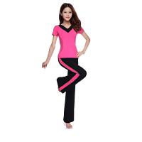 广场舞蹈服装套装新款瑜伽服女健身服跳操练功服条纹短袖长裤