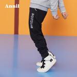 【3件3折:89.7】安奈儿男童潮流简约系绳运动裤