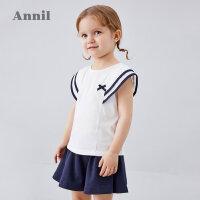 【3件3折价:98.7】安奈儿童装女童套装2020夏季新款经典实穿俏皮短袖伞裙套装