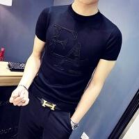 男士紧身薄款针织衫半袖韩版加厚短袖毛衣春秋季线衣社会打底毛衫
