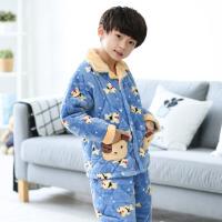 儿童睡衣冬季厚款法兰绒卡通男孩子中大童加绒男童冬款三层夹棉