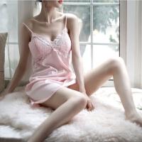 性感情趣内衣女极度诱惑睡衣加胸垫吊带丝滑睡裙露背情趣内衣套装