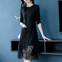 蕾丝连衣裙2019早春新款黑色裙子气质显瘦中长款拼接长裙 黑色(3-5天发)