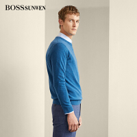 BOSSsunwen男士羊绒衫2018秋新款圆领100%山羊绒纯色套头针织毛衣