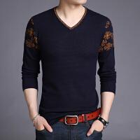 秋季男士V领毛衣薄款青年针织衫韩版潮流提花线衣套头修身打底衫