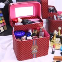 可爱化妆包大容量多功能简约便携护肤品收纳盒多层化妆箱手提收纳包