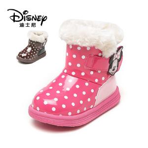【达芙妮集团】迪士尼 冬加绒儿童女鞋卡通魔术贴低筒短靴