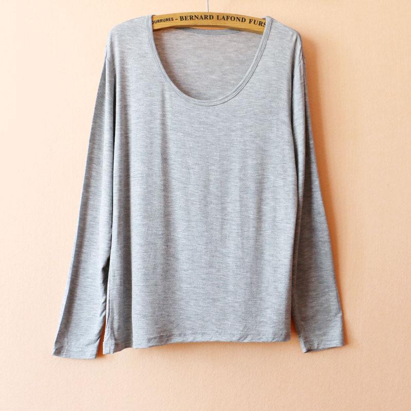 内衣睡衣睡衣秋季女莫代尔长袖T恤打底衫上衣 纯色休闲运动瑜伽长袖家居服
